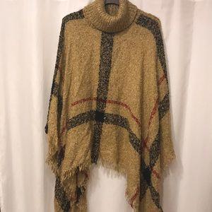 Sweaters - Camel Plaid Fringe Trim Poncho Turtleneck Sweater